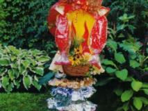 Летние садовые скульптуры своими руками. Блондинка и Оранжевая девочка