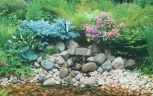 Вариант создания сада с искусственным ручьем